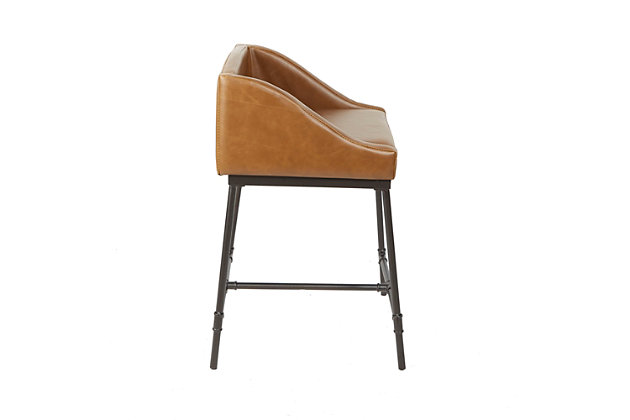 """Brady 24"""" Industrial Pipe Square Stool with Back, Cognac, large"""