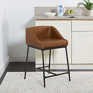 "Brady 24"" Industrial Pipe Square Stool with Back, , rollover"