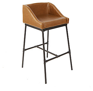 Brady Industrial Pipe Square Bar Stool, Cognac, large