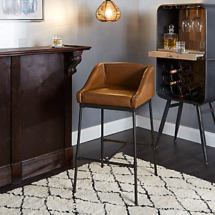 Brady Industrial Pipe Square Bar Stool, Cognac, rollover