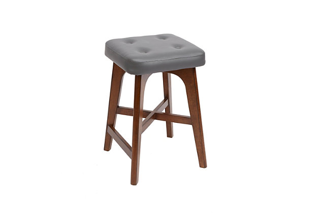Cameron Modern Wood Counter Stool with Square Cushion, , large