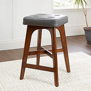 Cameron Modern Wood Counter Stool with Square Cushion, , rollover