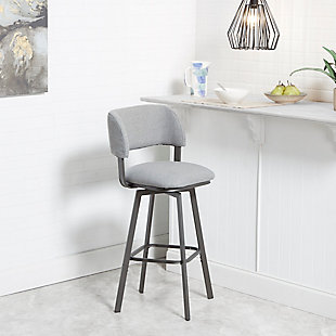 Carmella Adjustable Swivel Barstool with Open Wrap Back, , rollover