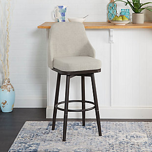 Damato Upholstered Curved Back Bar Stool with Metal Adjustable Legs, , rollover