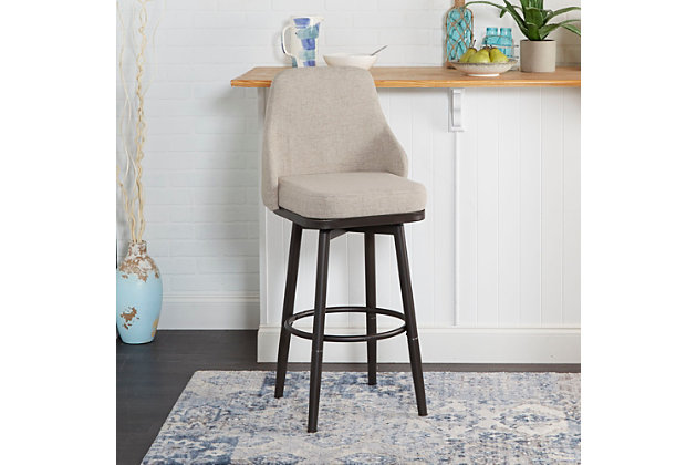 Damato Upholstered Curved Back Bar Stool with Metal Adjustable Legs, , large