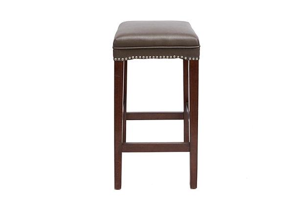 Emilion Upholstered Wooden Saddle Bar Stool, , large