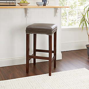 "Emilion 29"" Upholstered Wooden Saddle Stool, , rollover"