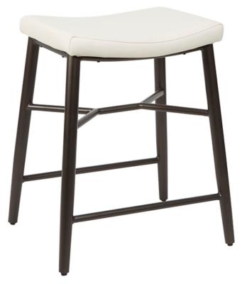 Harvey Saddle Upholstered Stationary Backless Counter Stool, Cream, large