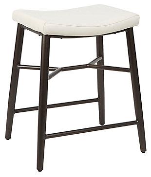 """Harvey 24"""" Saddle Upholstered Stationary Backless Barstool, Cream, large"""