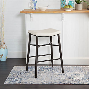 "Harvey 29"" Saddle Upholstered Stationary Backless Barstool, Cream, rollover"