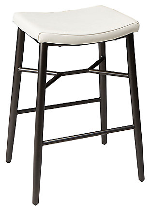 "Harvey 29"" Saddle Upholstered Stationary Backless Barstool, Cream, large"