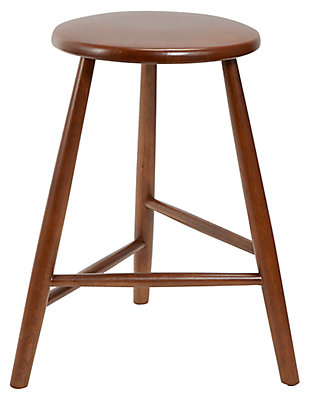 Howie Backless Mid-Century Wood Barstool, , large