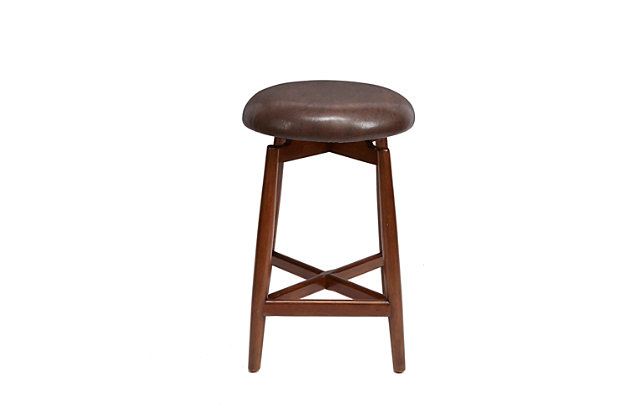 "Ian 24"" Modern Wood Swivel Barstool with Round Cushion, , large"