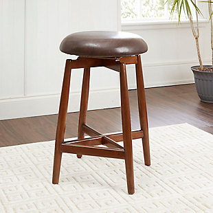 "Ian 24"" Modern Wood Swivel Barstool with Round Cushion, , rollover"