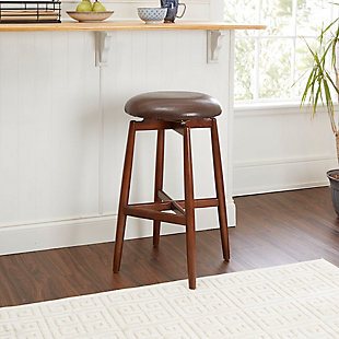 "Ian 29"" Modern Wood Swivel Barstool with Round Cushion, , rollover"
