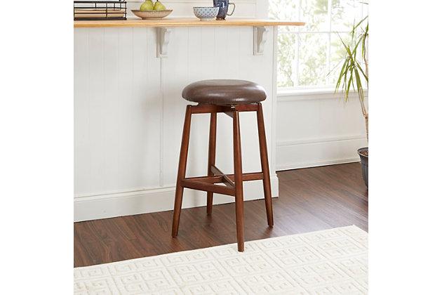"Ian 29"" Modern Wood Swivel Barstool with Round Cushion, , large"
