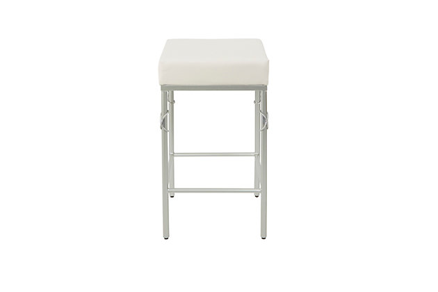 Porto Upholstered Square Backless Metal Counter Stool, White/Silver Finish, large
