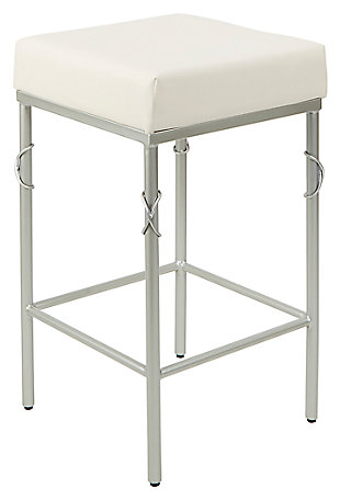 "Porto 24"" Upholstered Square Backless Metal Barstool, , large"