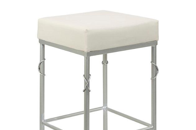 Porto Upholstered Square Backless Metal Bar Stool, White/Silver Finish, large