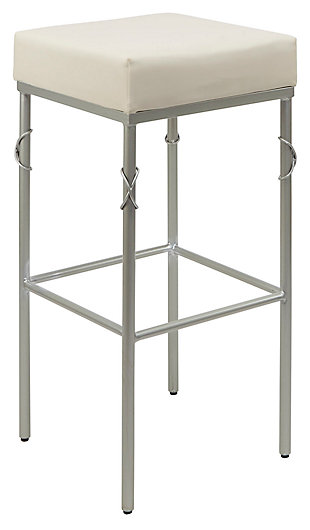 "Porto 29"" Upholstered Square Backless Metal Barstool, , large"