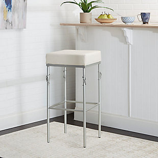 "Porto 24"" Upholstered Square Backless Metal Barstool, , rollover"