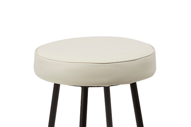 """Louis 24"""" Upholstered Round Backless Metal Barstool, , large"""