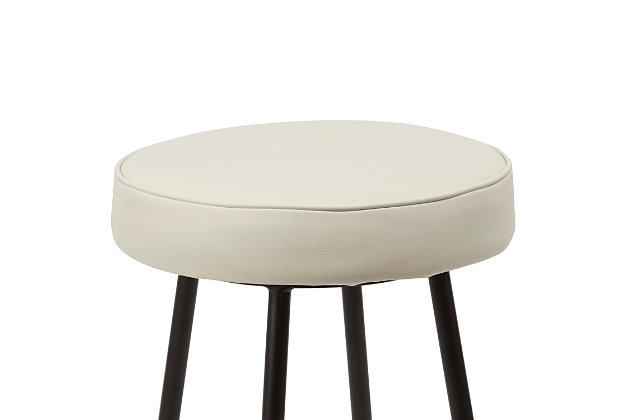 Louis Upholstered Round Backless Metal Counter Stool, White/Gunmetal, large