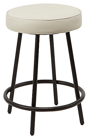 "Louis 24"" Upholstered Round Backless Metal Barstool, White/Gunmetal, large"