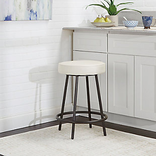 "Louis 24"" Upholstered Round Backless Metal Barstool, White/Gunmetal, rollover"