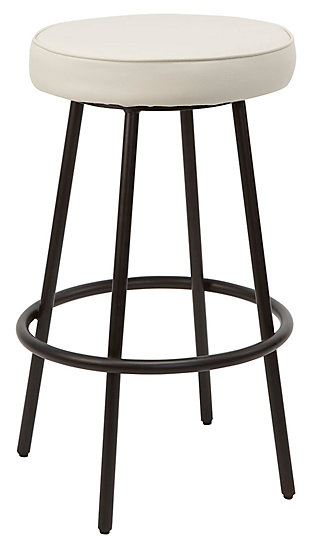 Louis Upholstered Round Backless Metal Bar Stool, Gunmetal Finish, large