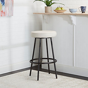Louis Upholstered Round Backless Metal Bar Stool, Gunmetal Finish, rollover