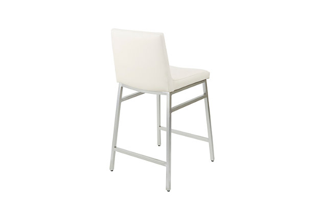 Luna Upholstered Square Back Metal Counter Stool, White/Silver Finish, large