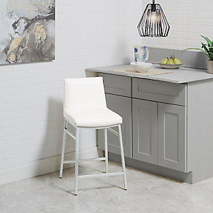 Luna Upholstered Square Back Metal Counter Stool, White/Silver Finish, rollover