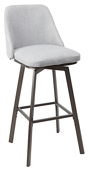 Posano Adjustable Height Curved Back Upholstered Barstool, , large