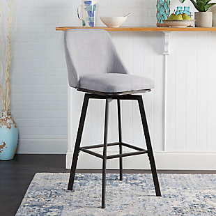 Posano Adjustable Height Curved Back Upholstered Barstool, , rollover