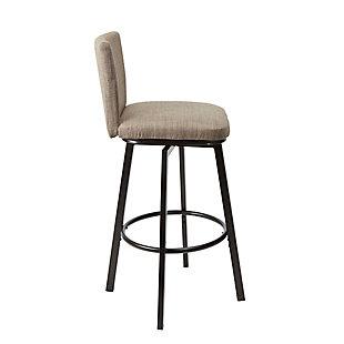 Robbin Upholstered Barstool with Adjustable Height Metal Frame, Brown/Dark Bronze Finish, large