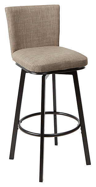 Robbin Upholstered Barstool with Adjustable Height Metal Frame, , large