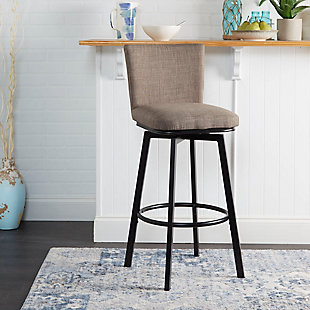 Robbin Upholstered Barstool with Adjustable Height Metal Frame, , rollover