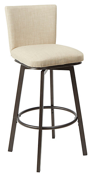 Robbin Upholstered Barstool with Adjustable Height Metal Frame, Light Tan/Gunmetal, large