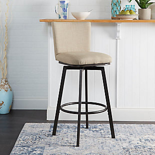 Robbin Upholstered Barstool with Adjustable Height Metal Frame, Light Tan/Gunmetal, rollover