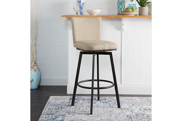 Robbin Upholstered Barstool with Adjustable Height Metal Frame, Light Tan/Gunmetal, large