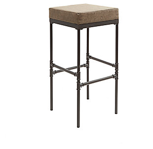 """Satiago 29"""" Pipe Fitting Upholstered Barstool, Brown, large"""