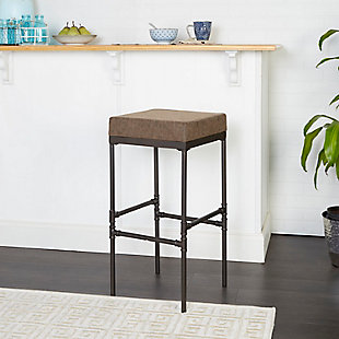 """Satiago 29"""" Pipe Fitting Upholstered Barstool, Brown, rollover"""