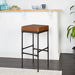 """Satiago 29"""" Pipe Fitting Upholstered Barstool, , rollover"""