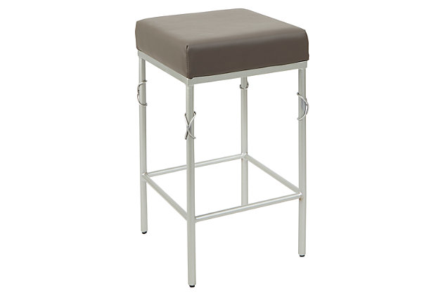 Porto Upholstered Square Backless Metal Counter Stool, Charcoal/Silver Finish, large