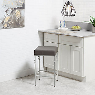 Porto Upholstered Square Backless Metal Counter Stool, Charcoal/Silver Finish, rollover