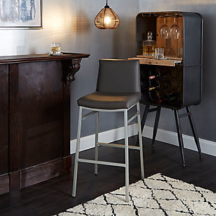 "Luna 29"" Upholstered Square Back Metal Barstool, Charcoal/Silver Finish, rollover"