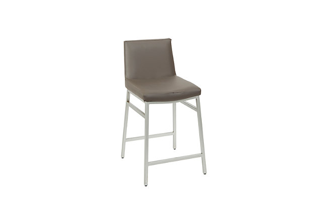 Luna Upholstered Square Back Metal Counter Stool, Charcoal/Silver Finish, large