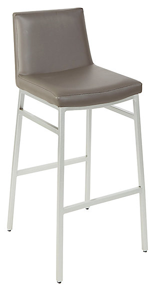 "Luna 29"" Upholstered Square Back Metal Barstool, , large"