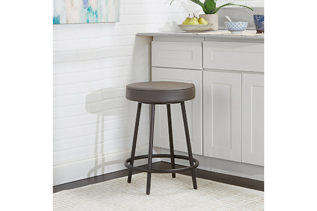 "Louis 24"" Upholstered Round Backless Metal Barstool, Charcoal, large"